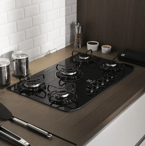 fogão cooktop 5 bocas electrolux preto a gás glp - gc70v