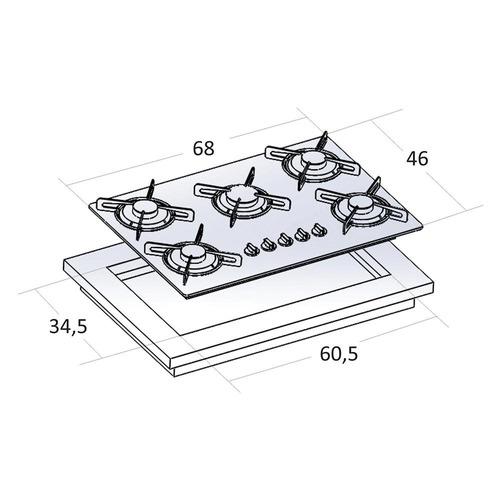 fogão cooktop 5 queimadores preto tripla chama safanelli