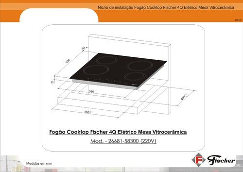 fogão cooktop fischer 4 bocas elétrico vitrocerâmica - 220v