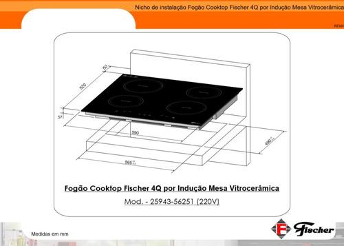 fogão cooktop fischer 4 bocas indução embutir vitrocerâmica