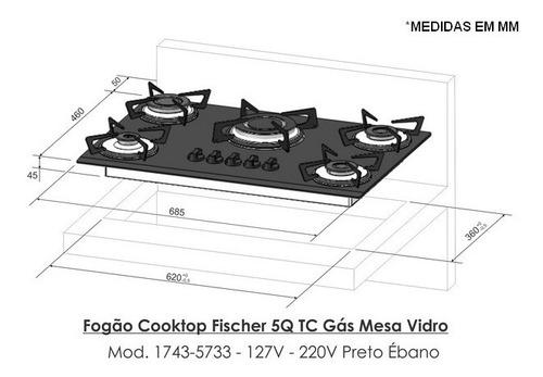 fogão cooktop fischer 5 bocas gás vemelho rouge 1743-15738