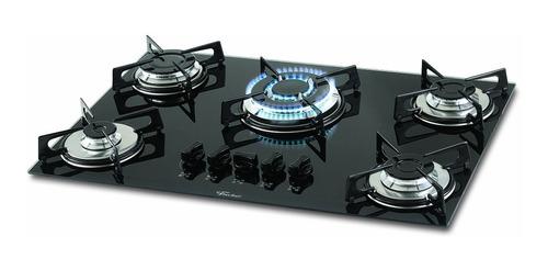 fogão cooktop fischer 5 bocas tripla chama gás vidro preto