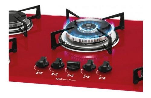 fogão cooktop fischer 5 bocas tripla chama gás vidro rouge