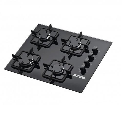 fogão cooktop soft 4 bocas à gás vidro preto - built