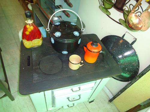 fogão de carvão ferro e ágata com 3 bocas unico antigo
