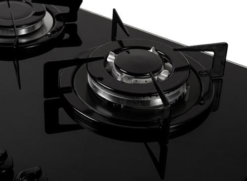 fogão de mesa nardelli nv5tc vidro preto/flange esmaltado