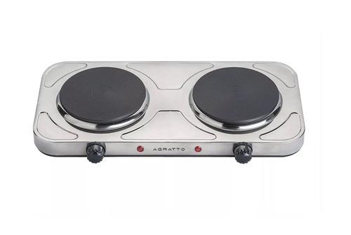 fogão elétrico 2bocas de mesa aço inox cooktop 2000w agratto