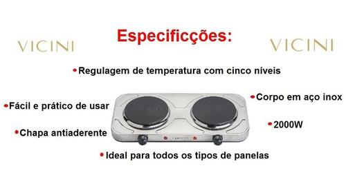 fogão elétrico em inox 2 bocas antiaderente 110v portátil