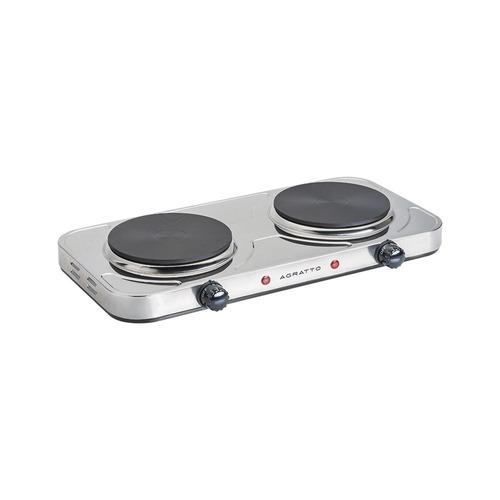 fogão elétrico inox 2 placas de mesa portátil agratto 220v