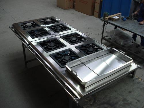 fogão industrial inox 304 ,m brey, 8 bocas 40x40,banho maria