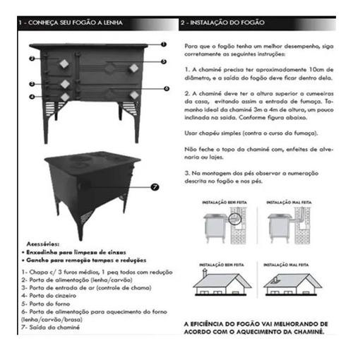 fogão lenha portátil ferro c/ serpentina santana 71x58x77 cm