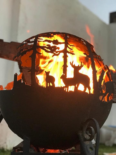 fogon esfera fogonero brasero estufa pellet decoración arte
