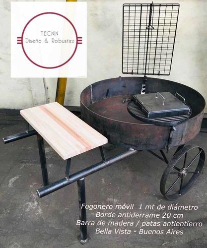 fogonero móvil asador de diseño robusto