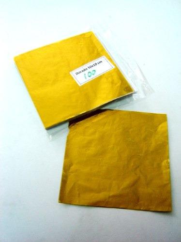 foil aluminio 10x10cm dorado x100ud envoltura chocolates