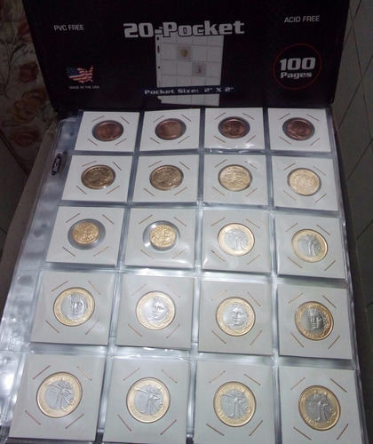folha para album moedas 20 divisões coin holder sem pvc