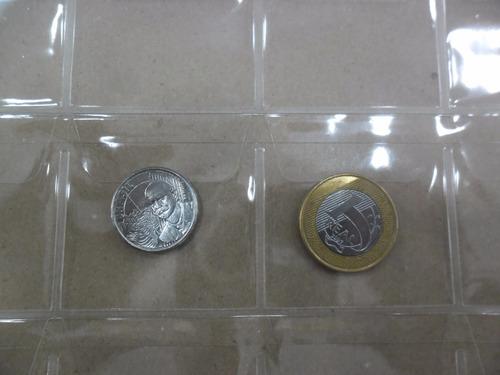 folha plastico moedas 24 divisões  furos universal - com aba