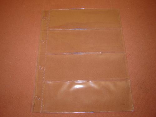 folha pvc p/ 4 cédulas (medida 31x24 cm) c/4 furos tchequito