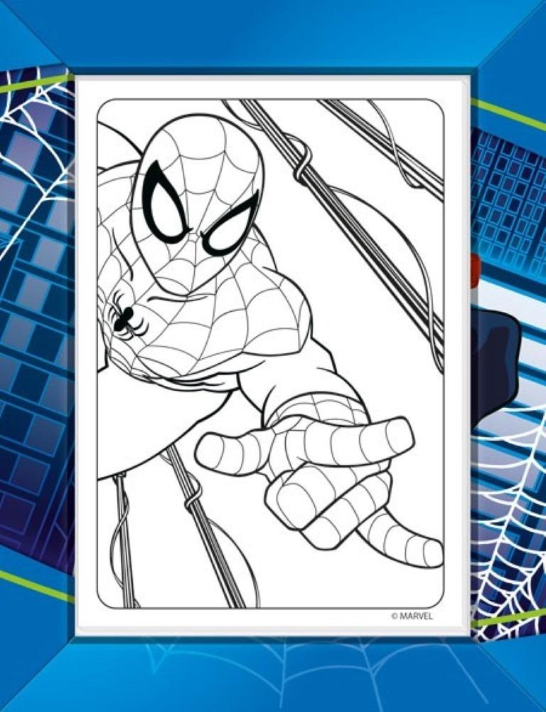 Folhas Para Colorir Mini Com Giz De Cera Spider Man Tilibra