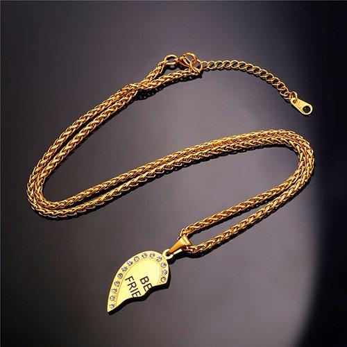 folheada ouro colar