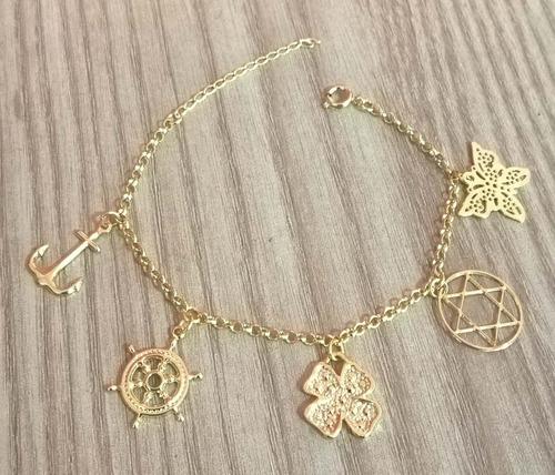 folheada ouro pulseira