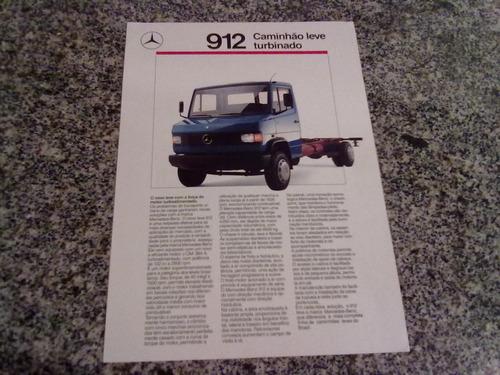 folheto de propaganda  do caminhão mercedes benz 912 1988