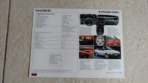 folheto folder concessionária ford escort xr3 ano 1987