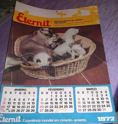 folhinha antiga - eternit - 1972 -