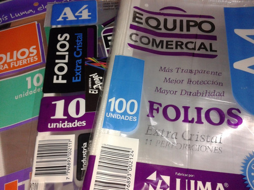 folios a4 40 micrones resistentes brillantes bolsa x100