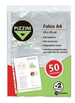 folios a4 x 12 unidades 24x30cm transparentes pizzini