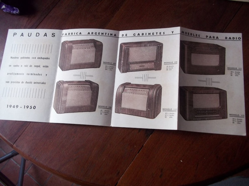 folleto antiguo paudas gabinetes muebles radio 1949 la plata