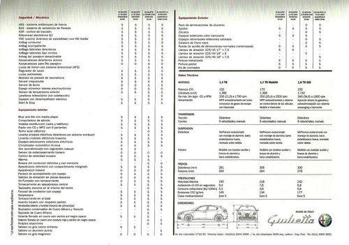 folleto - catalogo - alfa romeo - giulietta