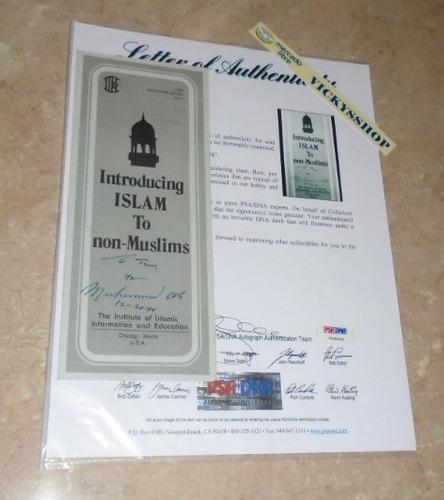 folleto del islam firmado por muhammad ali con coa psa/dna