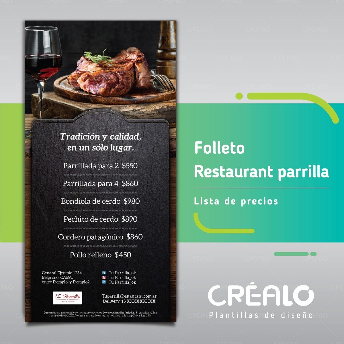 Folleto - Parrilla - Lista De Precios | Créalo Plantillas - $ 40.00 ...
