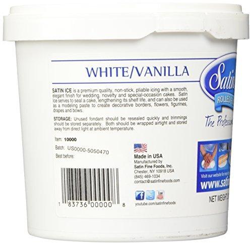 fondant de vainilla de hielo satinado, blanco, 2 libras