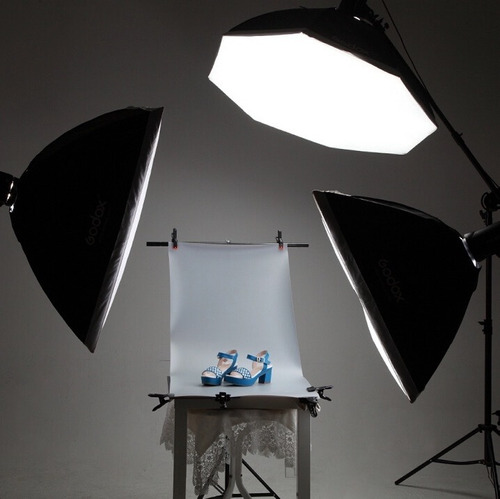 fondo de estudio fotográfico blanco de vinil para producto
