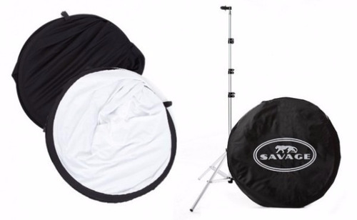 fondo plegable estudio fotografico con tripie blanco y negro