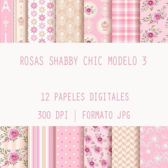 Fondos Papeles Digitales Decoupage Scrap Rosas Shabby Chic 3