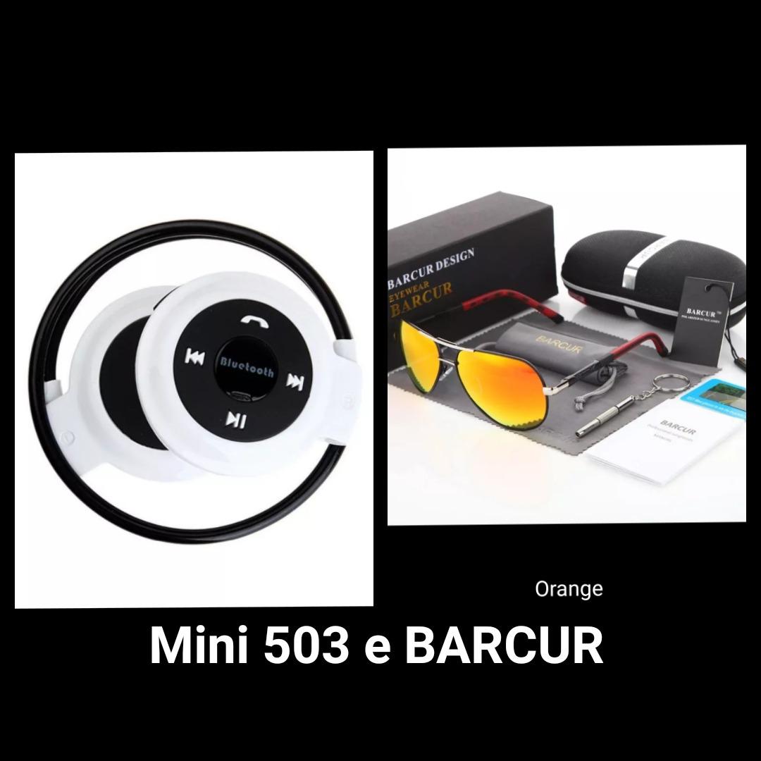 b0a762a5821d2 Fone Bluetooth Mini 503 E Óculos De Sol Barcur Hd Polarizado - R ...