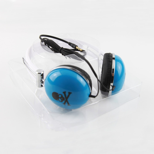fone de ouvido art & sound estéreo - azul caveirinha