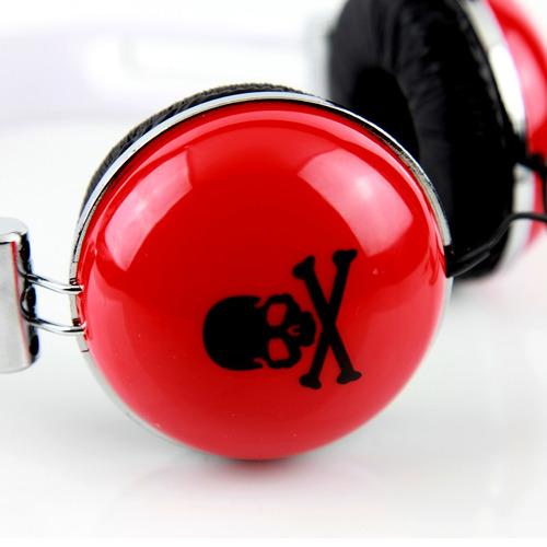 fone de ouvido art & sound estéreo - vermelho caveirinha