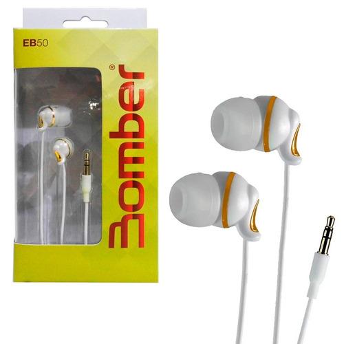 fone de ouvido auricular bomber branco/dourado original eb50