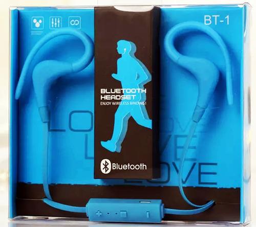 fone de ouvido bluetooth 4.1 headset sport corrida azul