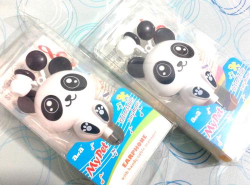 fone de ouvido cartoom gatinho e panda