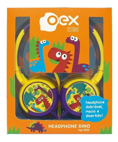 fone de ouvido headphone dino infantil hp300 colorido oex