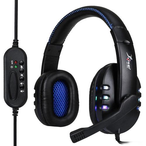 fone de ouvido headset gamer microfone usb led pc xbox ps4