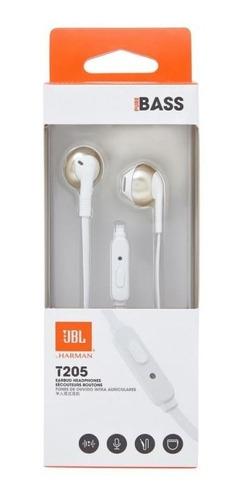 fone de ouvido jbl pure bass t205 branco e dourado - com mic
