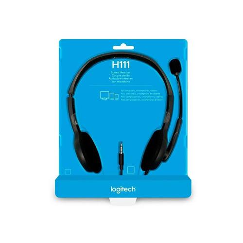 fone de ouvido logitech h111 estéreo analógico p3 cinza