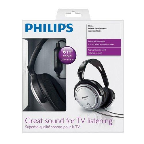 fone de ouvido para tv e pc shp2500/10 cabo 6m philips