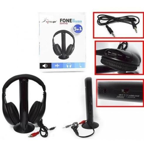 fone de ouvido s/fio 5x1 fm mp3 tv xbox ps3 smart promoção