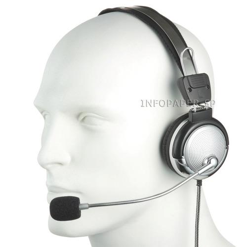 fone de ouvido stereo com microfone lan house pc smartphone